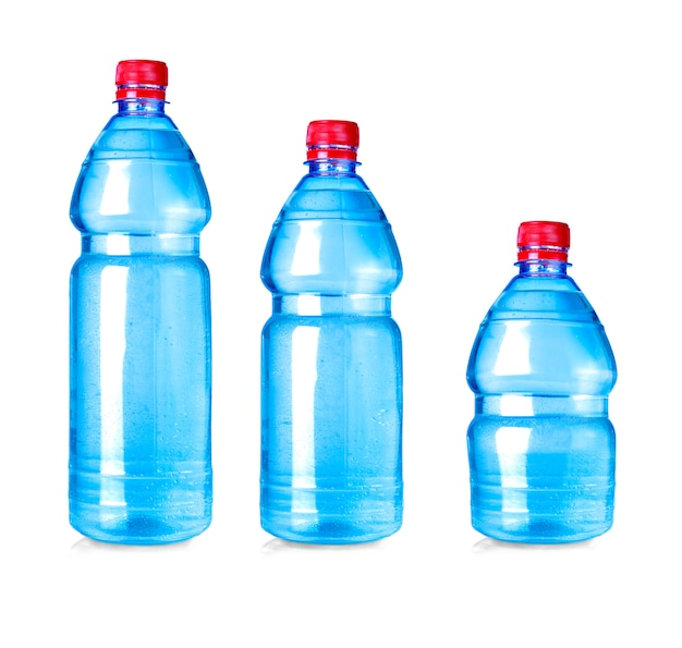 Blue water bottle isolated on white Premium Photo