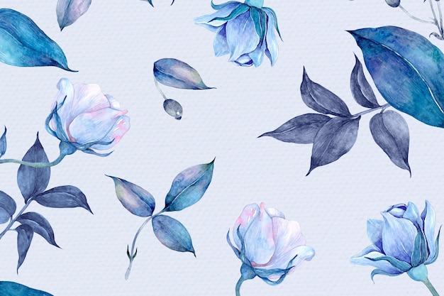 푸른 수채화 장미 꽃 패턴 디자인 무료 사진