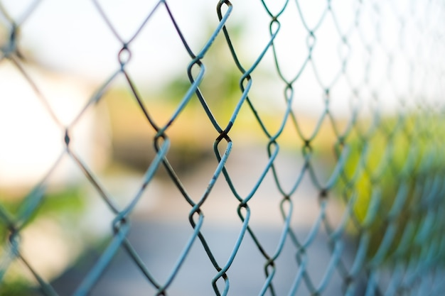 Blue welded wire mesh fence for vintage background or texture. Photo ...
