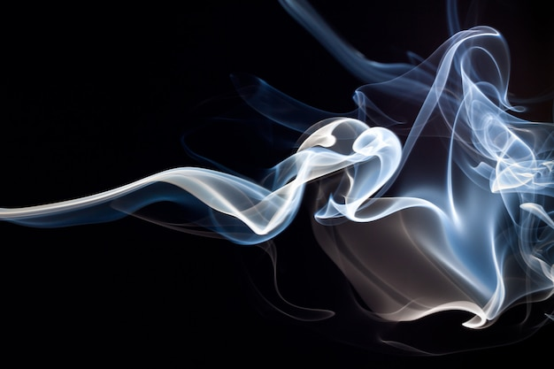Blue and white smoke abstract background, darkness concept Premium Photo