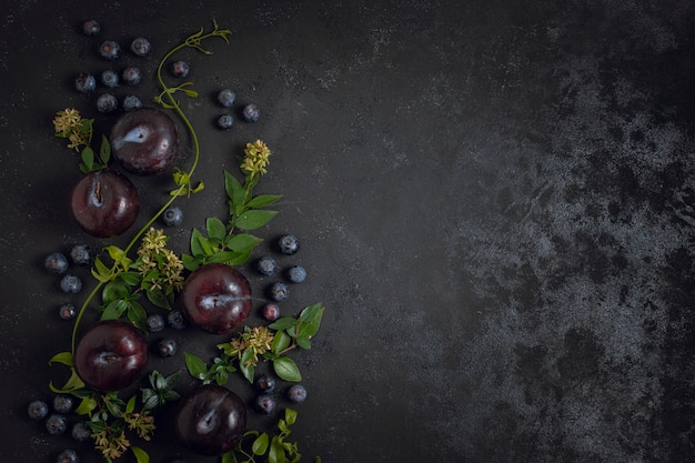 Blueberries and plums copy space Free Photo