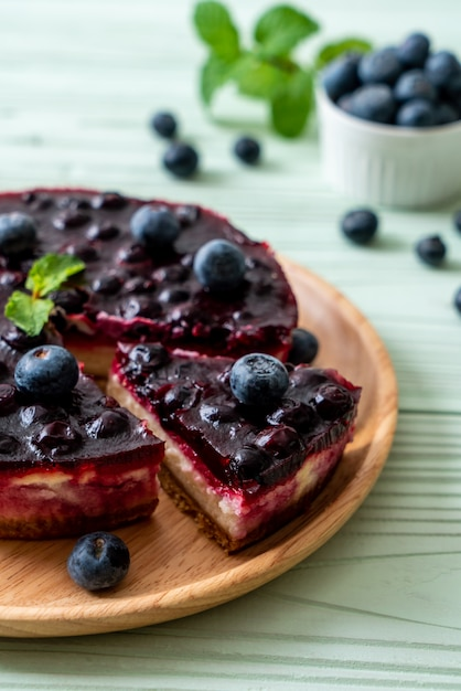Blueberry cheese cake Premium Photo