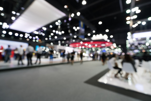 Blur, defocused background of public exhibition hall. Premium Photo