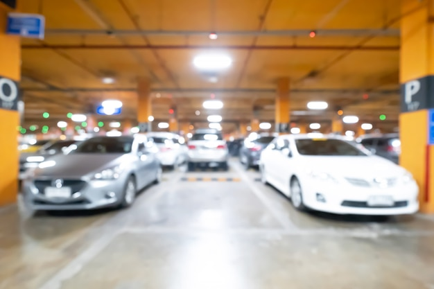 Blur of empty space in a parking lot. Premium Photo