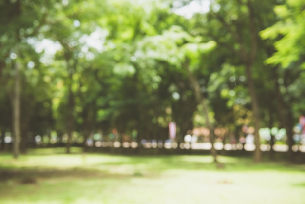 Размытие природы зеленый парк с боке солнце свет абстрактного фона. скопируйте пространство концепции путешествий и окружающей среды. стиль цветного тонального фильтра. Бесплатные Фотографии