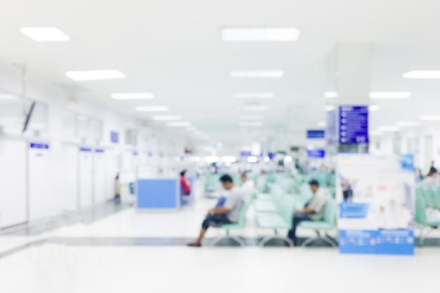 배경을 흐리게-배경에 대 한 추상 흐림 아름다운 고급 병원과 클리닉 인테리어. 빈티지 효과 스타일 사진. 프리미엄 사진