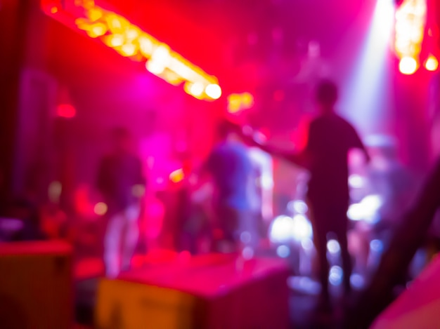 Blurred background of the concert in a nightclub Premium Photo