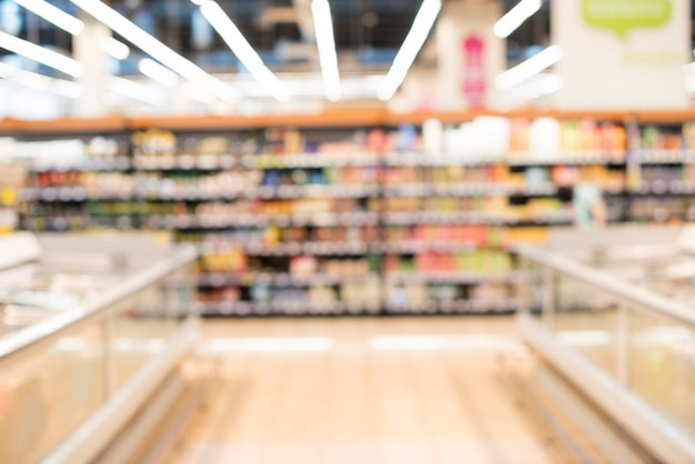 Blurred background of grocery store Free Photo