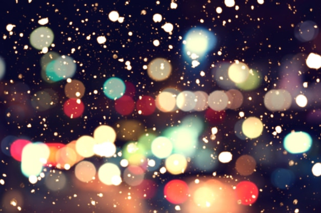 Colorful Christmas Lights Background.Blurred Bokeh Background Of Colorful Christmas Lights With