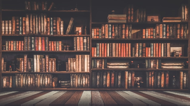 Blurred bookshelf many old books in a book shop or library Premium Photo