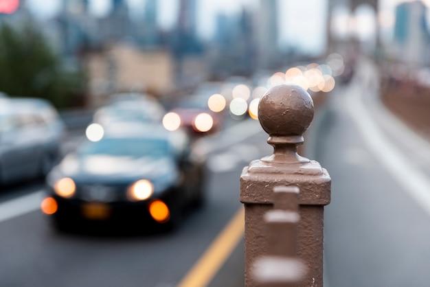 Blurred cars in traffic Free Photo