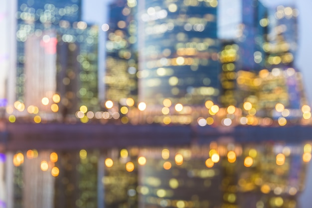 Blurred defocused abstract background of moscow city at night Premium Photo
