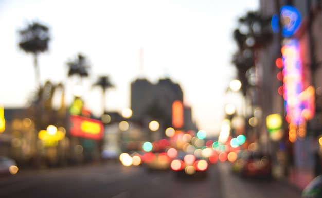 Blurred defocused background of hollywood boulevard after sunset Premium Photo