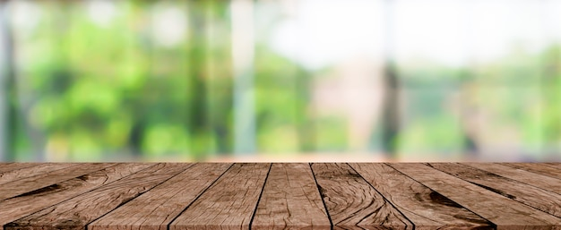 Blurred house garden panoramic background with plank table Premium Photo