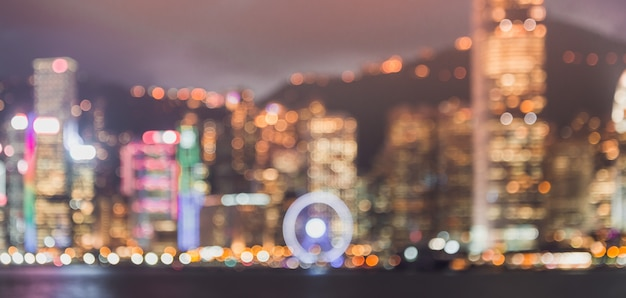 Blurred image for background of hong kong cityscape Premium Photo