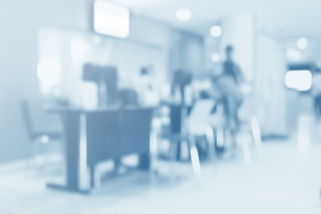 Blurred interior of hospital - abstract medical background. Premium Photo