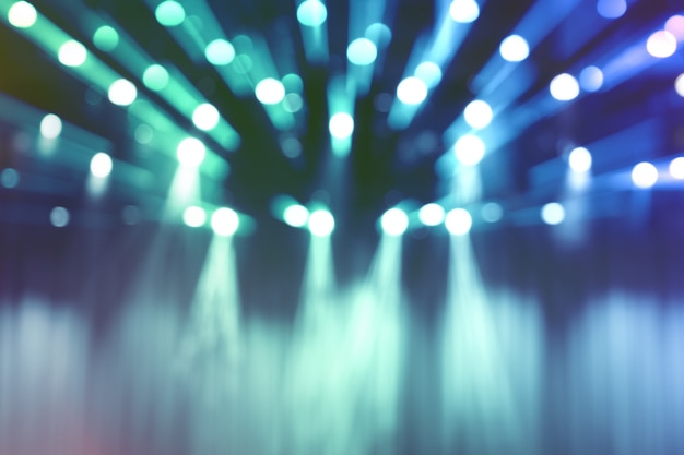 Blurred lights on stage, abstract image of blue spotlight concert. Premium Photo