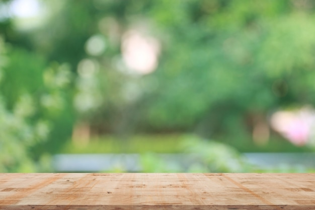 Blurred natural background with wooden Premium Photo