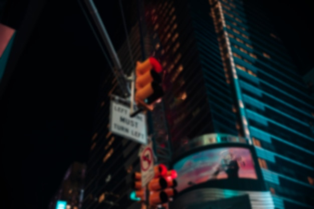 Blurred nonfunctional traffic light in the city Free Photo
