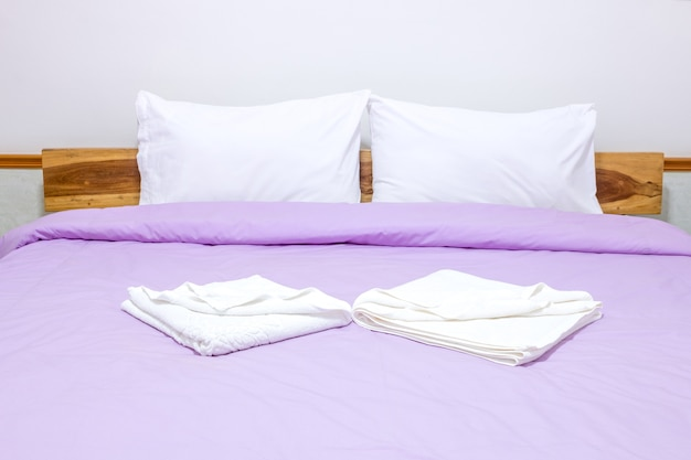 Blurred Of White Pillow And Bedding Sheets On Natural White Wall Bedroom  Background, Messy Bed