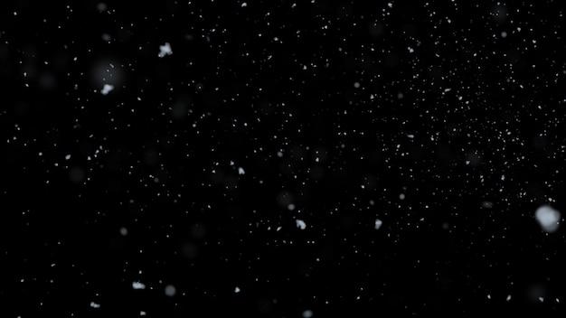 Blurred realistic snow falling on black background Premium Photo