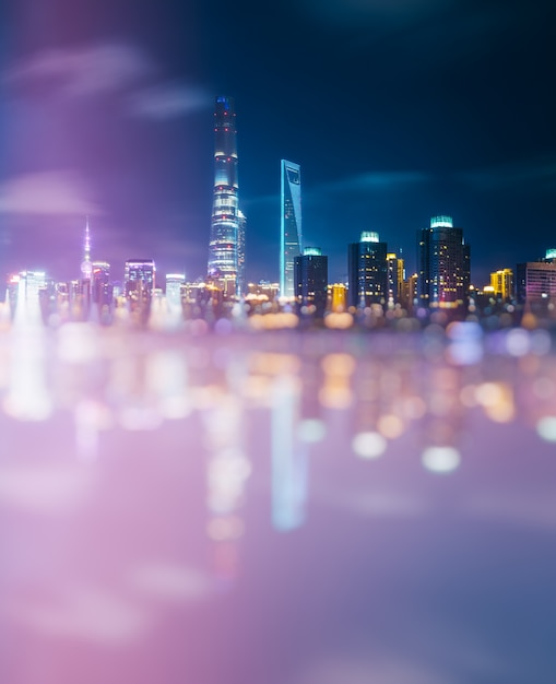 Blurred view of cityscape Free Photo