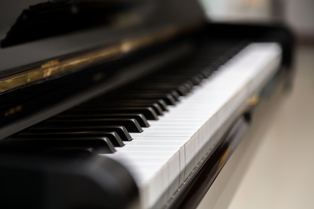 Blurred view of piano keys Free Photo