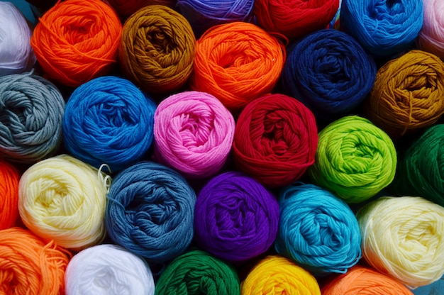 Blurry background of colorful knitting Premium Photo
