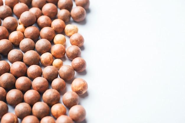 Blush balls on a light background close-up. selective focus. copy space Premium Photo