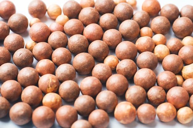 Blush balls on a light background close-up. selective focus. Premium Photo