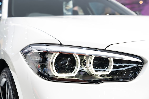 Bmw 8 series coupe be closeup led headlight with laserlight Premium Photo