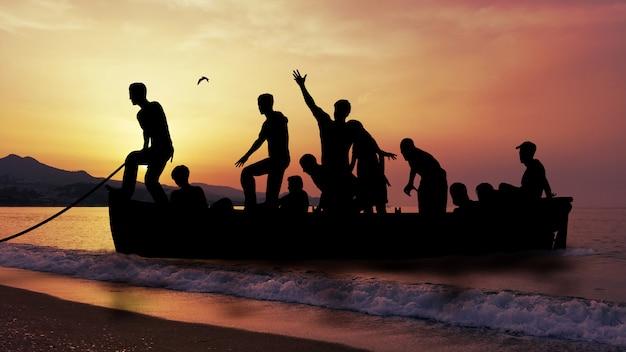 Boat with migrants fleeing the war Premium Photo