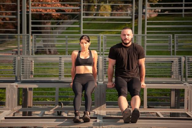 Body resistance exercise at stadium Free Photo