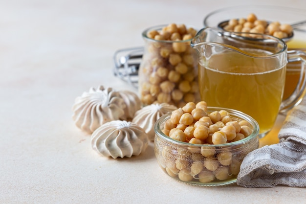 Boiled chickpea on table Premium Photo