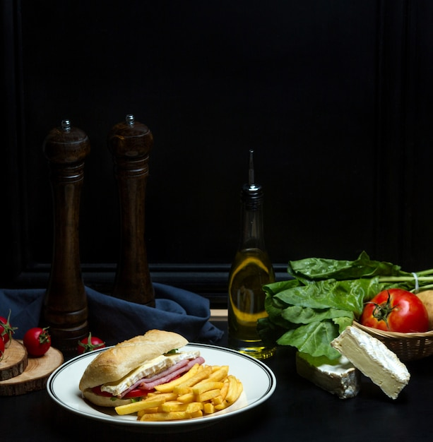 Boiled pork sandwich and french fries 1 Free Photo