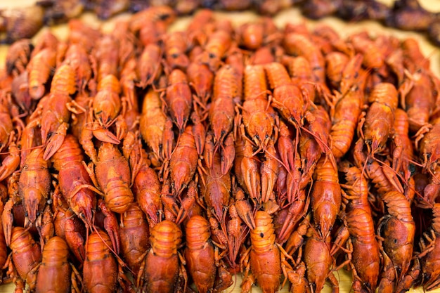Boiled red crawfish. crawfish ready to eat. beer snack. crayfish to beer. cancers. Premium Photo