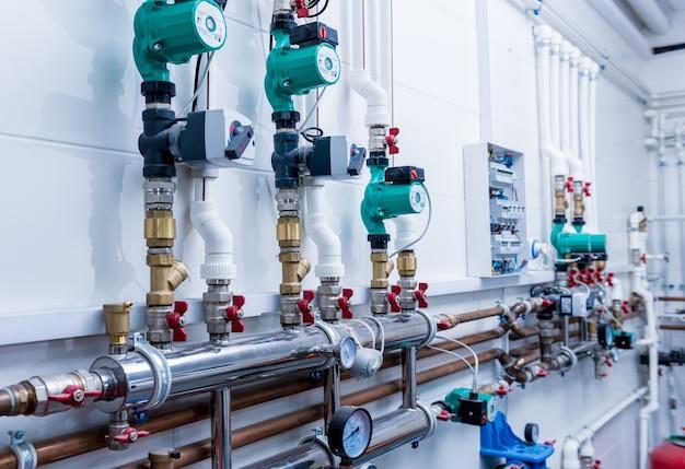 Boiler room equipment for modern heating system. Premium Photo