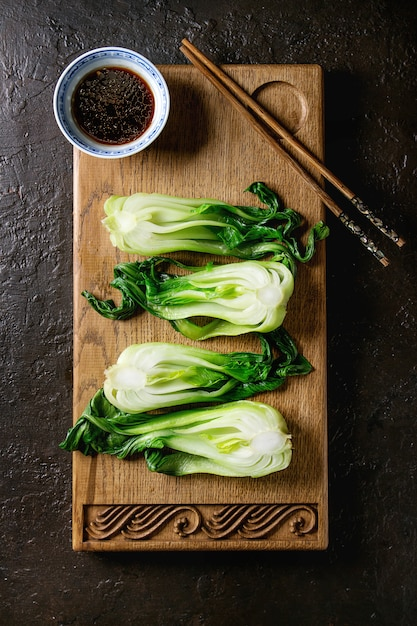 Bok choy with rice Premium Photo