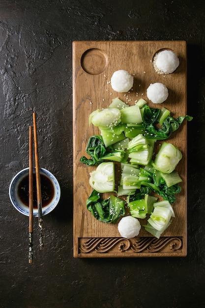 Bok choy with rice Premium Photo