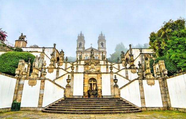 Bom jesus do monte sanctuary in tenoes near braga portugal Premium Photo