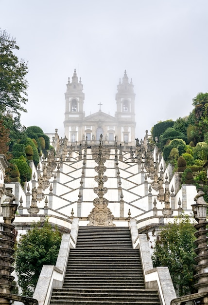 Bom jesus do monte sanctuary in tenoes near braga portugal Premium Photo