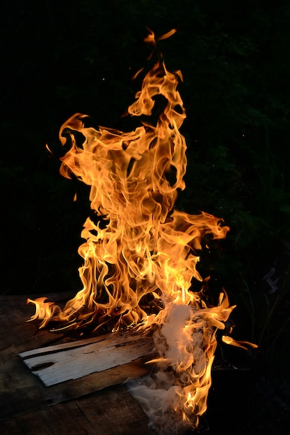 Bonfire and house fire in the night Premium Photo