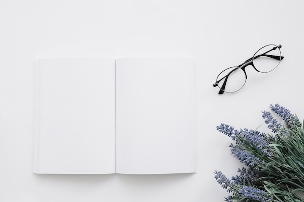 Cook Book Cover Ups ~ Book cover mockup with glasses and flower decoration photo