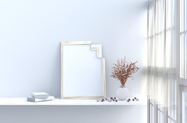 白いリビングルームのインテリア、窓、バラ、ドレープ、カーテン、モックアップ、額縁、book.sun輝いています。 3 Premium写真