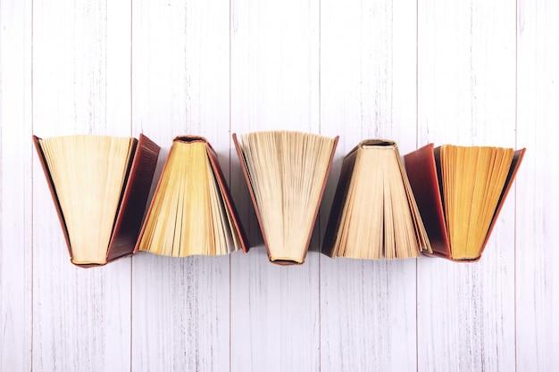 Book . top view of open hardback books Premium Photo