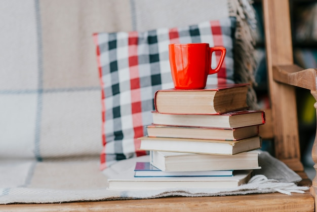 Books and mug on sofa Free Photo