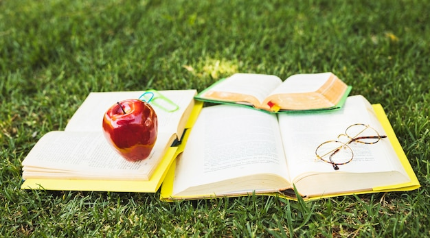 Books with stationery lying on green lawn Free Photo