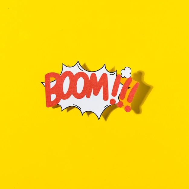 Boom cartoon illustration text in retro pop art style on yellow background Free Photo