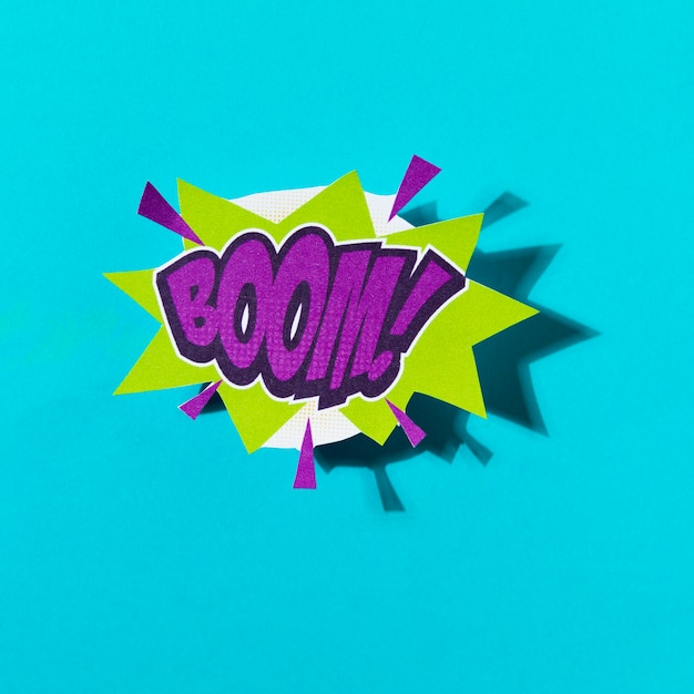 Boom comic text colored pop art style sound effect Photo | Free Download