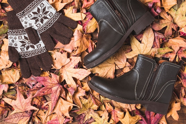 Boots and gloves on dry leaves background Free Photo